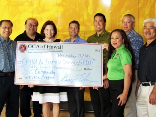 General Contractors Association (GCA) donated $58,000 to Child & Family Service (CFS) in partnership with Ward Village Foundation. Pictured are (from left) GCA second vice president Cedric Ota, GCA executive vice president Johnny Y. Higa, CFS vice president of programs Karen Tan, The Howard Hughes Corporation executive vice president of Hawaii David Striph, The Howard Hughes Corporation vice president of community development Todd Apo, GCA deputy director Gladys Hagemann, GCA president George Ehara and GCA fi rst vice president Clay Asato.