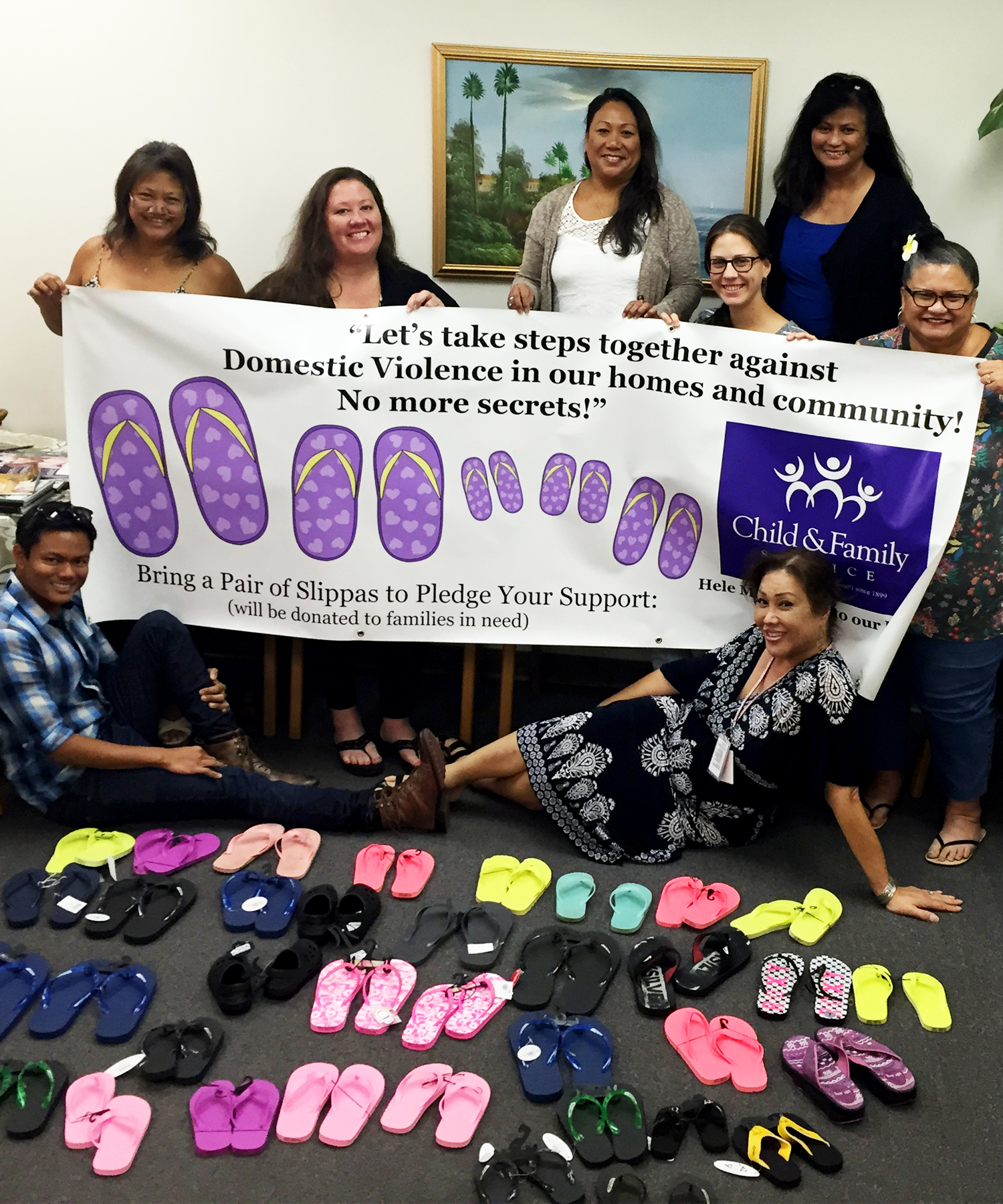 "2015 ""Slippah"" Campaign: CFS staff members (top, from left) Edith Bustamente, Charla Jones, Gina Sanico, Kimberly Vance, Donna Agor, Jackery Burgess-Manoha, (bottom) Derek Galanto and Lacie Kenolio."