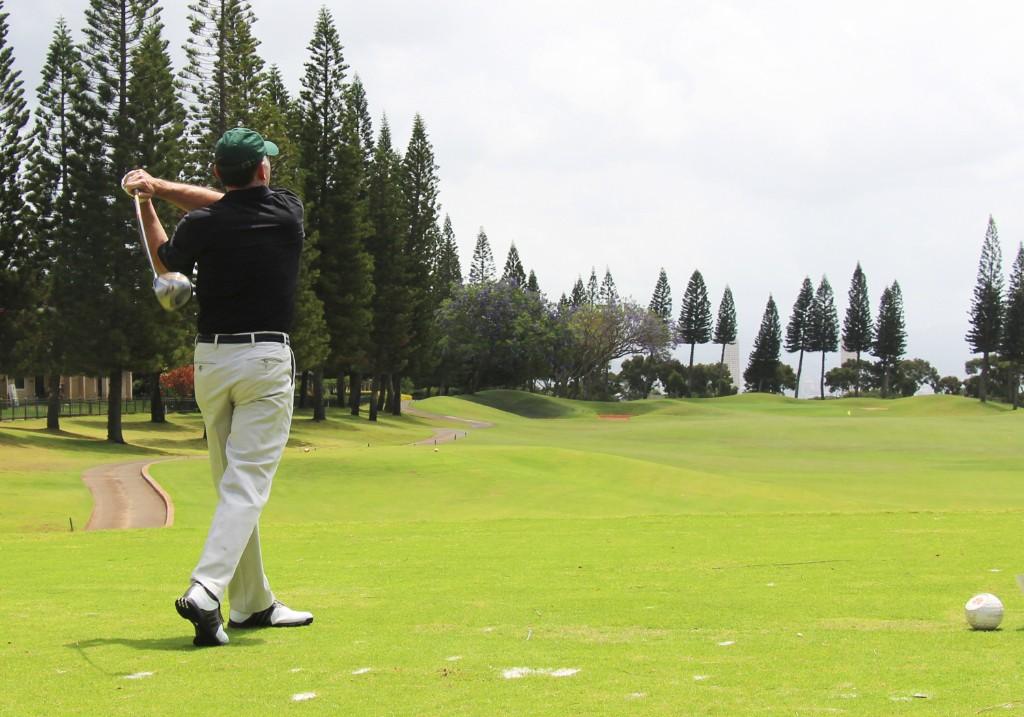 First Hawaiian Bank Chairman & CEO Robert Harrison tees off