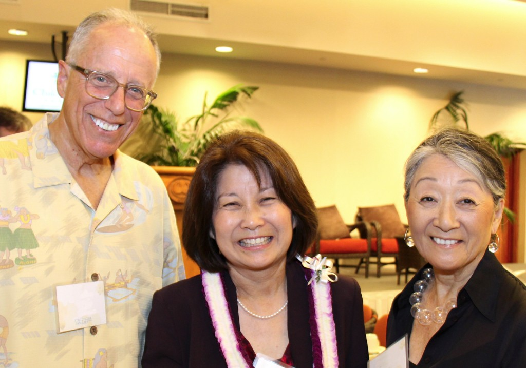 New CFS Board Chair Michele Saito (President & CEO of DTRIC Insurance) (middle) with Larry & Atsuko Fish.