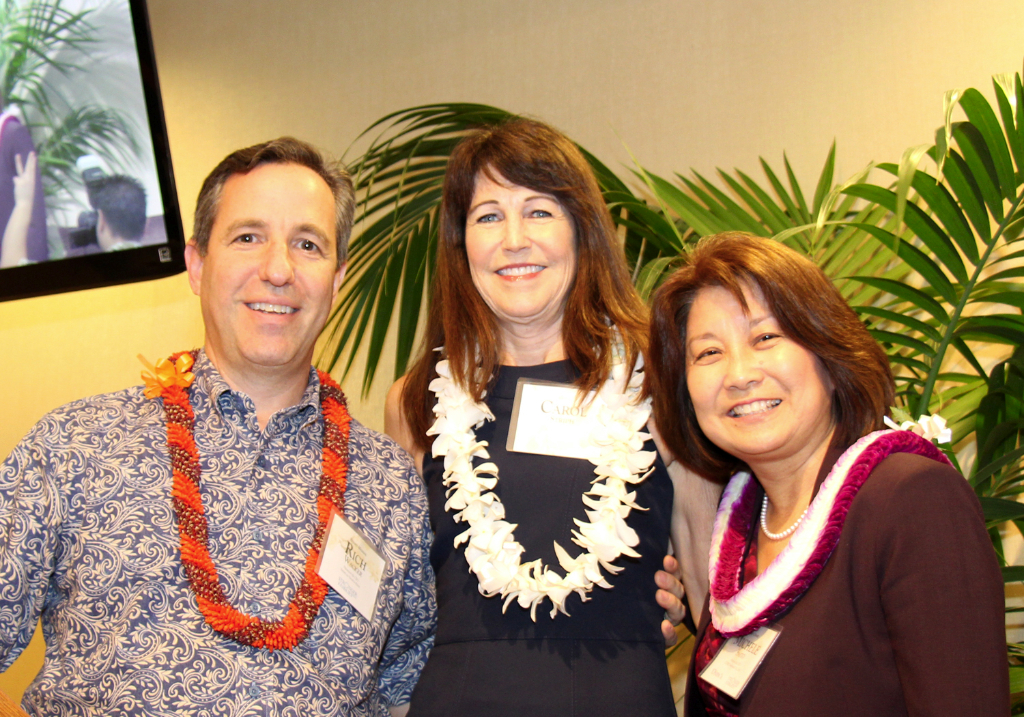 CFS Past Board Chair Richard Wacker and CFS Board Chair Michele Saito thank outgoing Guild Chair Carol Striph (middle).