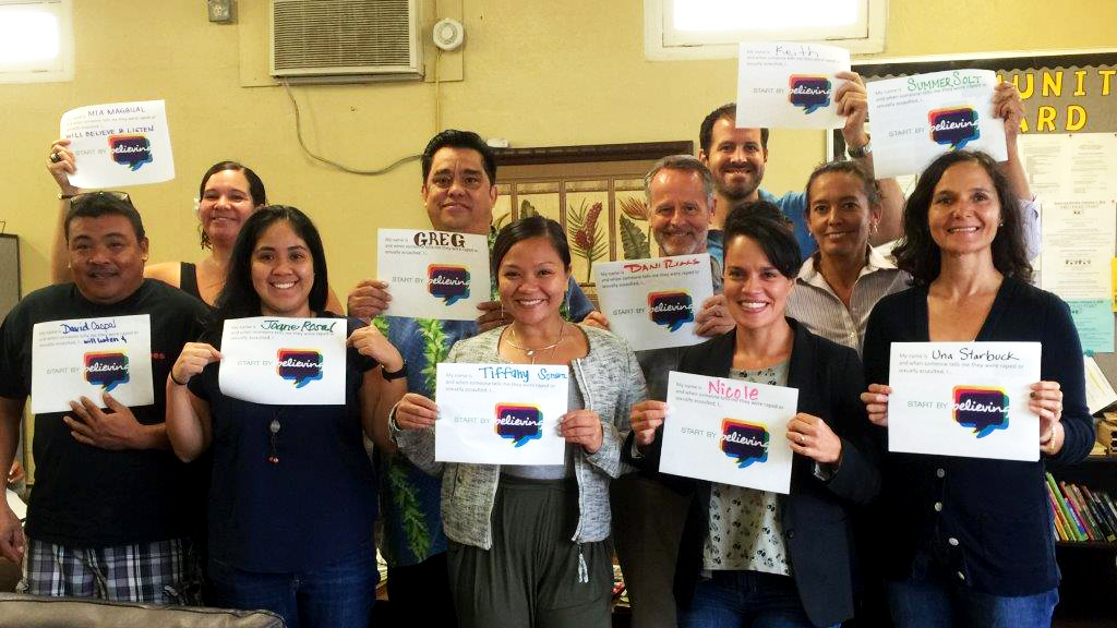 "CFS Maui Staff complete a ""Start by Believing"" training."