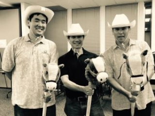 """Howdy! Practice makes perfect! 3 of our CFS """"Cowboys"""" (L to R) Michael Young (Albert C. Kobayashi, Inc.), Glen Kaneshige (Nordic PCL Construction, Inc.), & Joe Young (Deloitte & Touche LLP) take a break between practice numbers."""