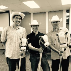 "Howdy! Practice makes perfect! 3 of our CFS ""Cowboys"" (L to R) Michael Young (Albert C. Kobayashi, Inc.), Glen Kaneshige (Nordic PCL Construction, Inc.), & Joe Young (Deloitte & Touche LLP) take a break between practice numbers."