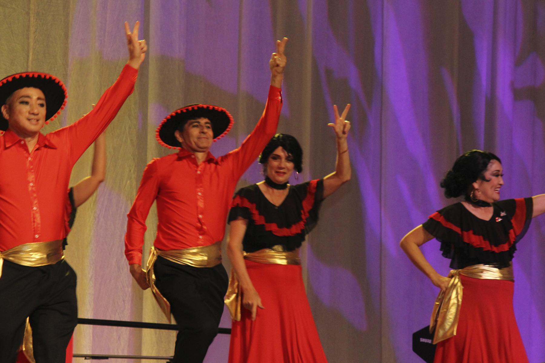 2016 AN EVENING AROUND THE WORLD: UNO, DOS, TRES! CFS Flamenco Dancers Bob Takamatsu (Goodfellow Bros., Inc.), Tab Bowers (American Savings Bank), Dr. Tyrie Jenkins (Jenkins Eye Care) & Kathy Inouye (Kobayashi Group LLC) dance on stage!