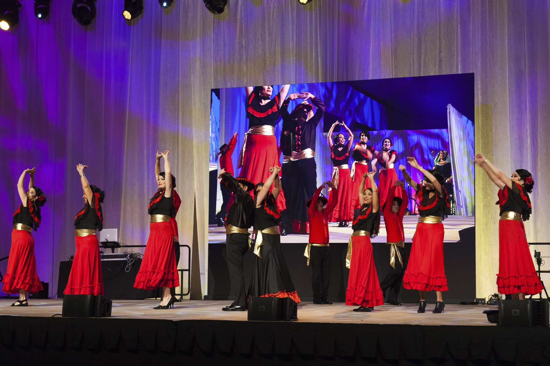 2016 AN EVENING AROUND THE WORLD: CFS Flamenco Dancers strike a pose to finish their number!