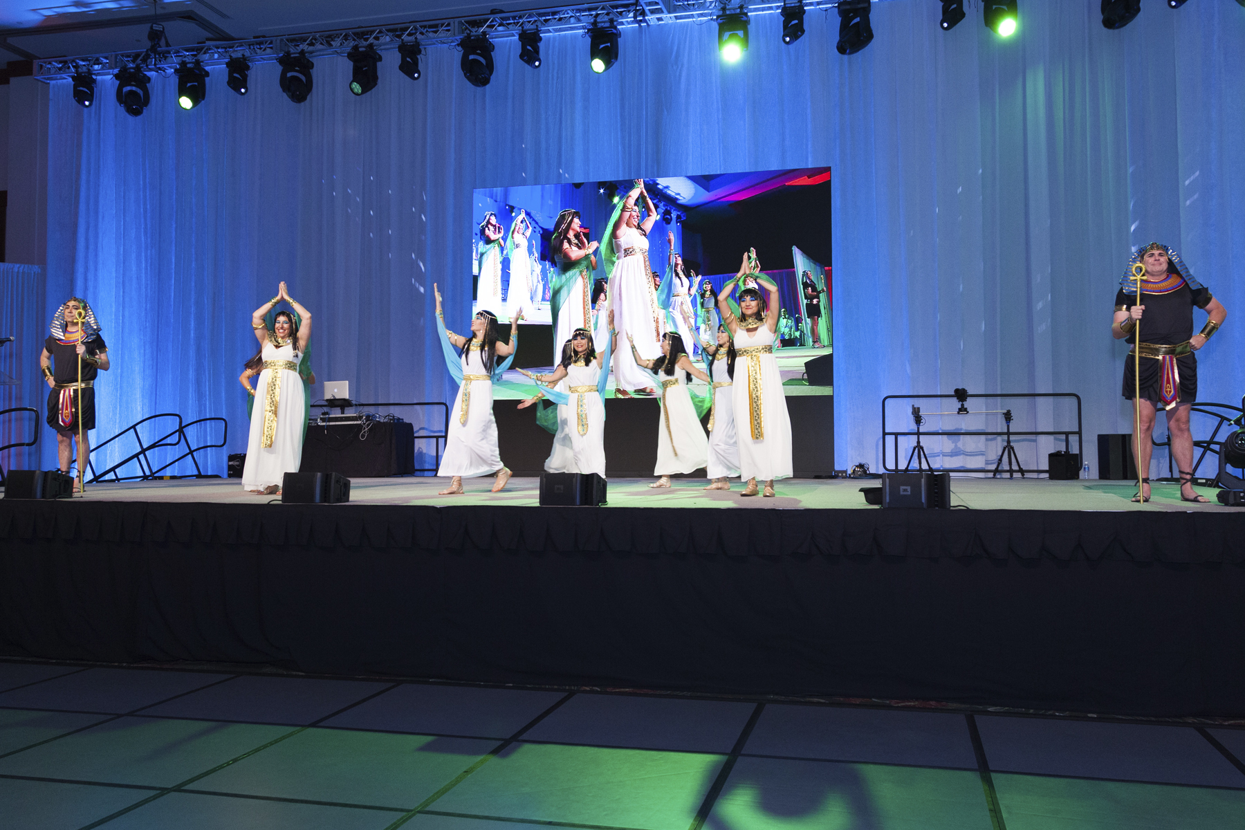 """2016 AN EVENING AROUND THE WORLD: The CFS Egyptian Women """"walk like an Egyptian"""" onto the stage!"""