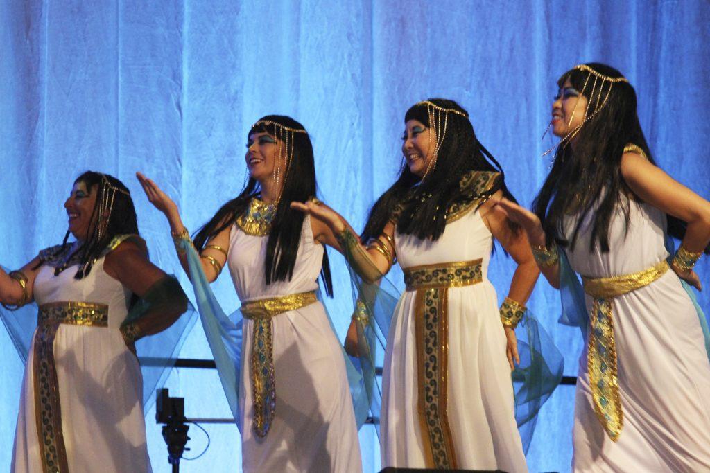 2016 AN EVENING AROUND THE WORLD: The CFS Egyptian Women Cathy Camp (Kamehameha Schools), Erin Kirihara (Rider Levett Bucknall), Michele Saito (DTRIC Insurance Group), & Terri Ann Motosue (Yamamoto Caliboso) perform on stage!