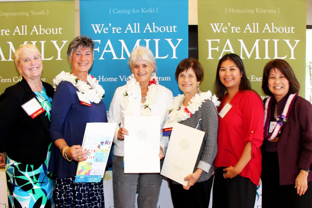 FY2016 Board Chair Awardees: The Kaua'i Guildas Founders! (L to R) Sharon Lasker (Kaua'i Guild current Co-Chair), Carole Kahn (Kaua'i Guild Co-Founder), Micki Evslin (Kaua'i Guild Co-Founder), Kathy Richardson (Kaua'i Co-Founder), Novelyn Hinazumi (CFS Director of Kaua'i Programs), & Michele Saito (CFS Board Chair).