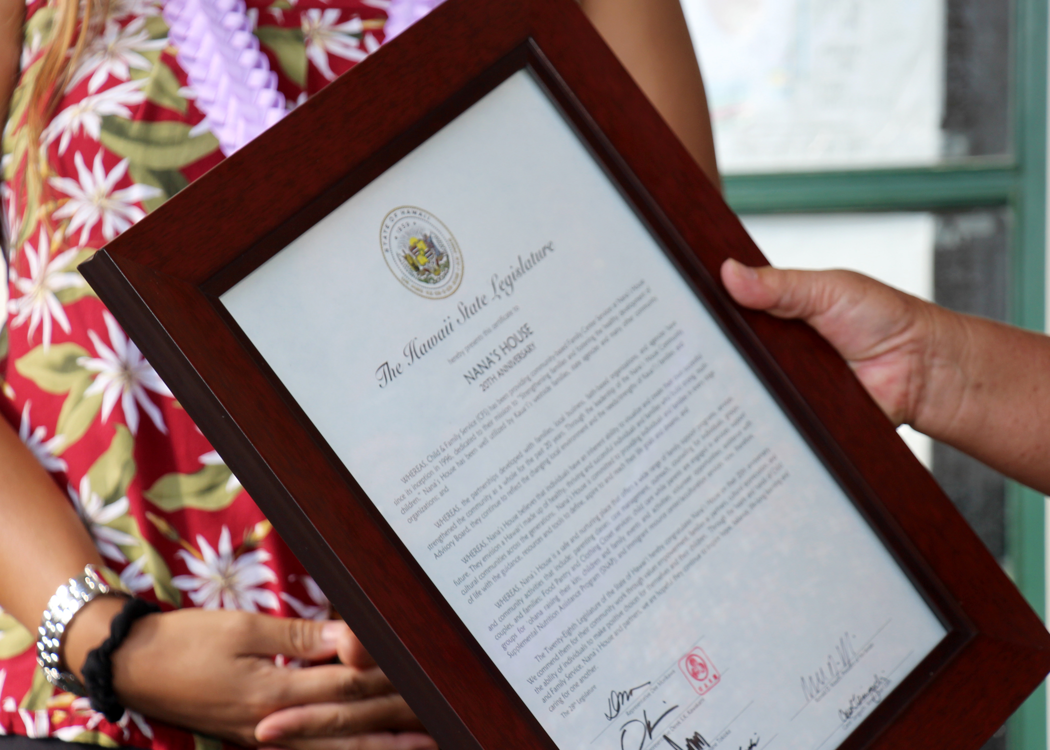 State Representative Dee Morikawa presented this Certificate from the Hawaii State Legislature