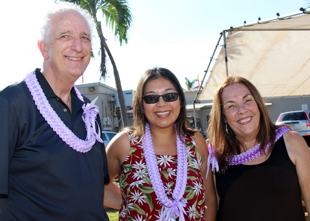 CFS Kaua'i Staff: (L to R) William Harrington, Kaua'i Family Centers Director; Novelyn Hinazumi, Director of Kaua'i Programs; & Momi Machado, Nana's House Program Manager.