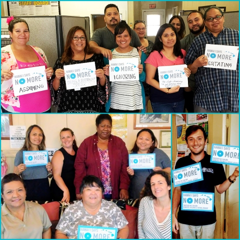 CFS Staff Support Hawai'i Says NO MORE! (Top) CFS Maui Office Staff. (Bottom) Hale Ho'omalu Family Center Staff on Kaua'i.