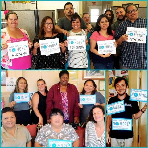 CFS Staff Support Hawai'i Says NO MORE! (Top) CFS Maui Office Staff. (Bottom) Hale Ho'omalu Family Center Staff on Kaua'i.