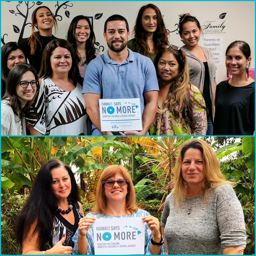 CFS Hawai'i Island Staff Support Hawai'i Says NO MORE! (Top) East Hawai'i Island Staff. (Bottom) West Hawai'i Island Staff.