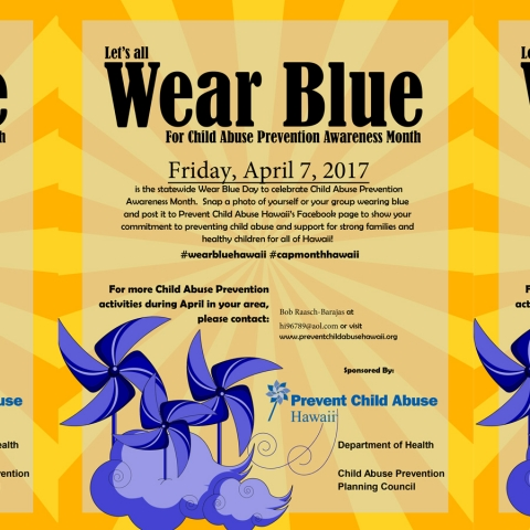 "Statewide ""Wear Blue Day"" for Child Abuse Prevention Awareness Month"