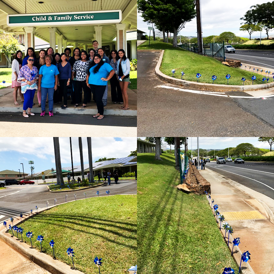 CFS Staff place Pinwheels around the Ewa Family Center