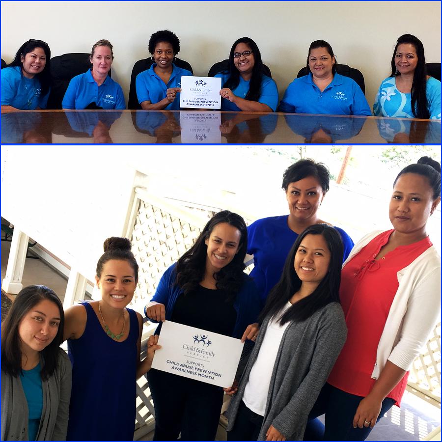 """CFS Staff wearing blue for """"Wear Blue Day""""!"""