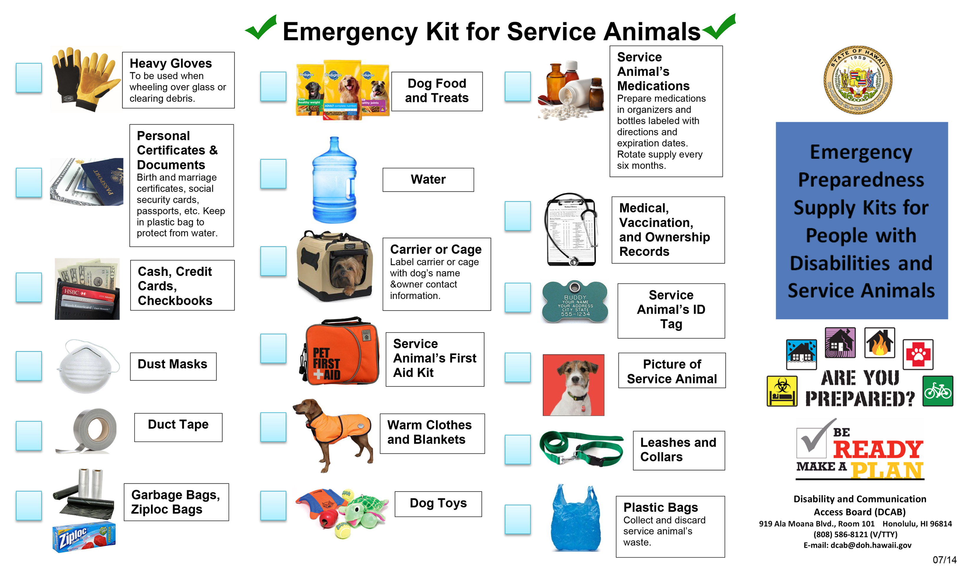 Emergency Kit for Service Animals