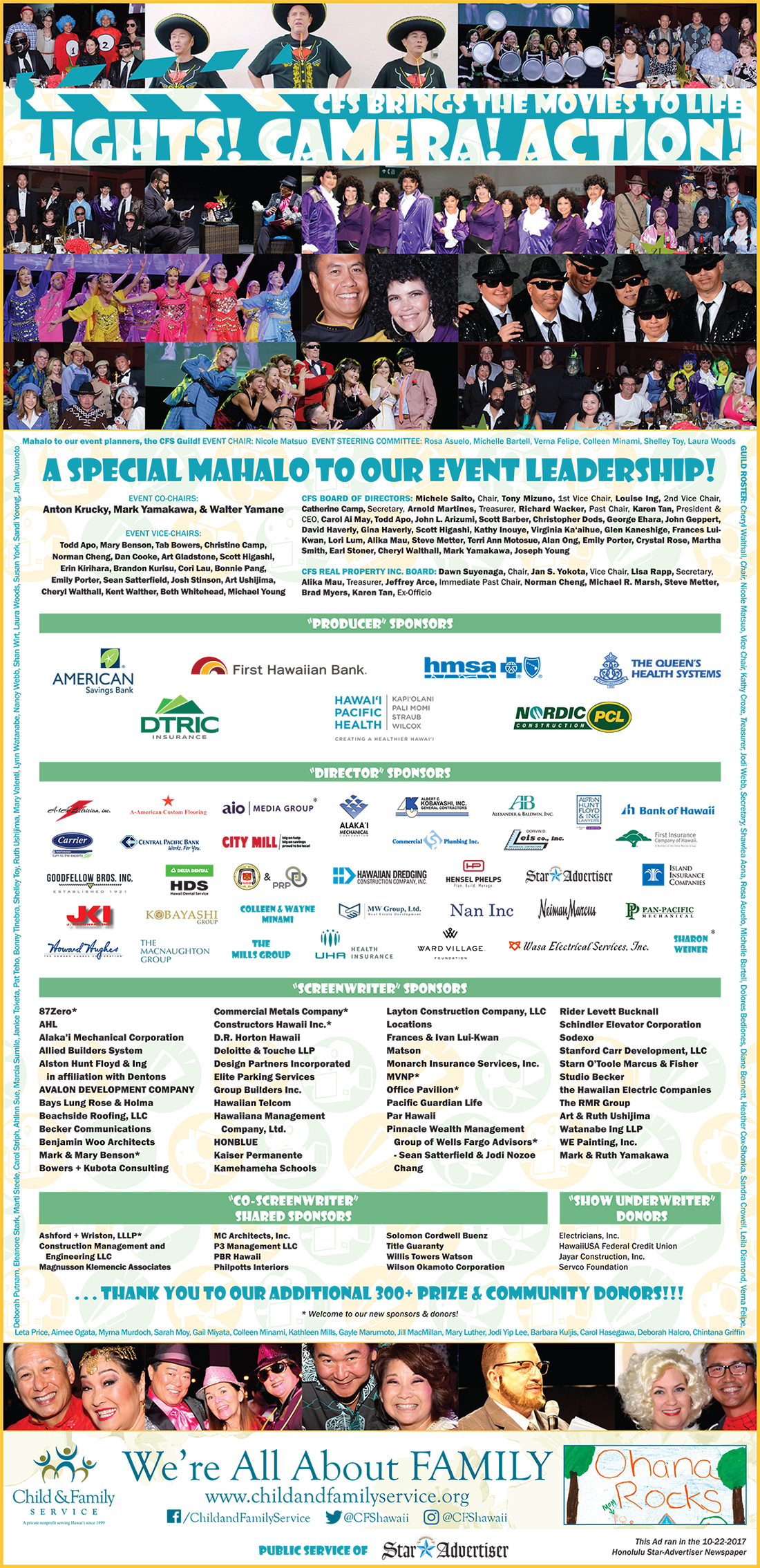 2017 LIGHTS! CAMERA! ACTION! CFS Brings the Movies to Life Mahalo Ad: appeared in the Honolulu Star-Advertiser on 10/22/2017.