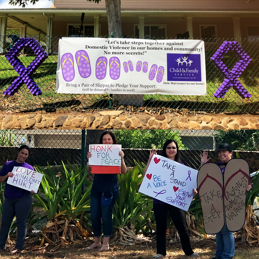 "2017 ""Slippah"" Campaign Kick off! CFS Staff at our Ewa Family Center held signs and waved at drivers."