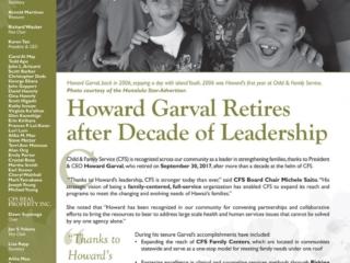 2017 New Possibilities Donor Newsletter: Howard Garval Retires