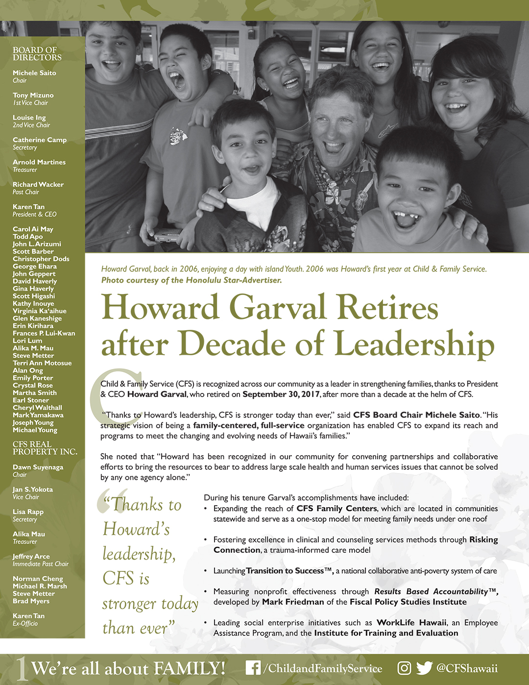 2017 New Possibilities Donor Newsletter: Howard Garval Retires