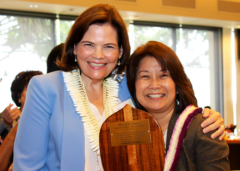 Outgoing Board Chair Michele Saito