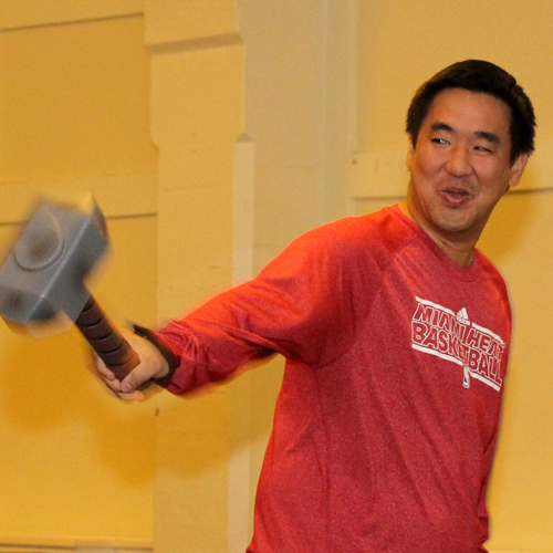Bank of Hawaii presents HEROES & LEGENDS Preview!  Hammer time? CFS Board of Director Michael Young (VP, Albert C. Kobayashi, Inc.) practices his moves.