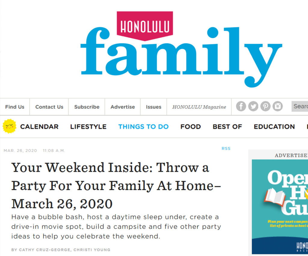 Honolulu Family Mag: Party At Home